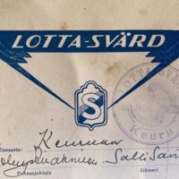 Keuruun Lotta Svärd -yhdistyksen jäsenkortti